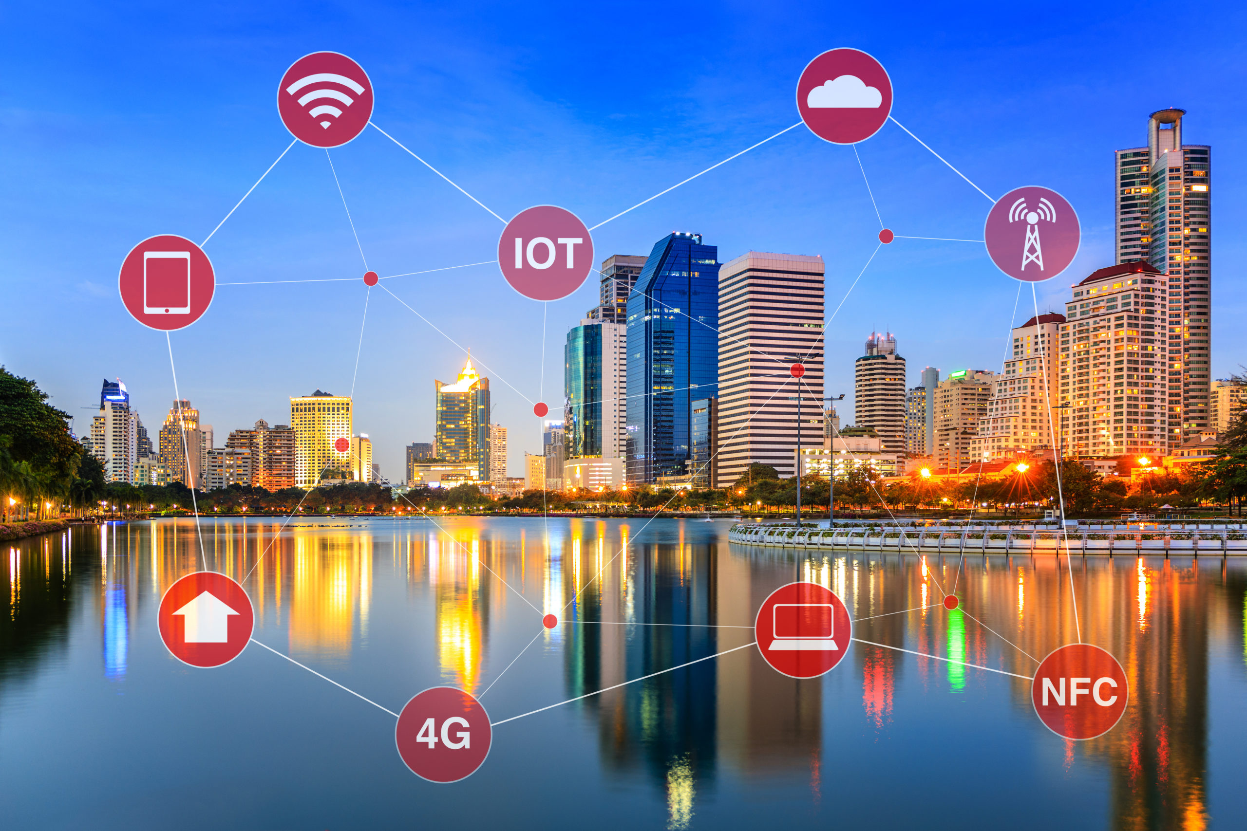 Smart City illustrated by Networking and Internet of Things or IOT and wireless signals